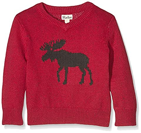 Hatley Kids Boy's Moose V-Neck Sweater with Elbow Patches (Toddler/Little