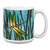 Tree-Free Greetings Extra Large 20-Ounce Ceramic Coffee Mug, Beautiful Dragonfly Themed Robert Ichter Art (XM29501)