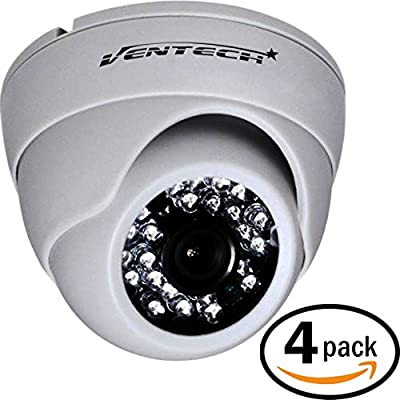 VENTECH (4 Pack) CCTV Security Dome Camera Color 1000tvl 960H analog CMOS 24led IR-cut Night Vision Infrared Home Surveillance 3.6mm Lens Indoor 12v cam Wide Angle audio more than 700tvl 600tvl white from VENTECH SECURITY