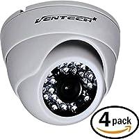 VENTECH (4 Pack) CCTV Security Dome Camera Color 1000tvl 960H analog CMOS 24led IR-cut Night Vision Infrared Home Surveillance 3.6mm Lens Indoor 12v cam Wide Angle audio more than 700tvl 600tvl white
