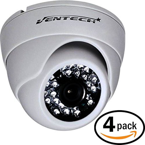Infrared Color Security Ir Video (VENTECH 4 Pack CCTV Security Dome Camera Color 1000tvl 960H Analog CMOS 24 led IR-Cut Night Vision Infrared Home Surveillance 3.6mm Lens Indoor 12v)