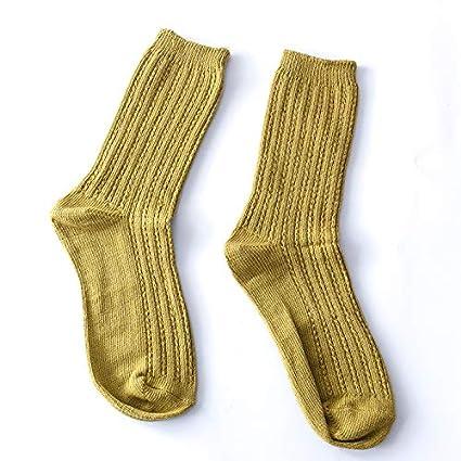 KWXHG Los Calcetines del algodón de los Hombres del otoño Calcetines japoneses del Color sólido del