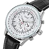 GuTe Classic Men's Pro Automatic Mechanical Watch White Dial Day/Date Luminous Hands