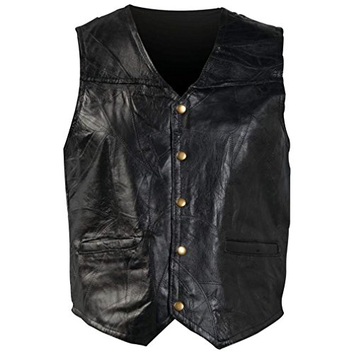 Giovanni Navarre Italian Stone Design Genuine Leather Vest Fully Lined With Snap Button GFV XXXL (Italian Leather Giovanni)