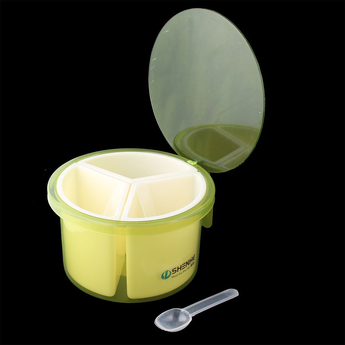 Amazon.com | DealMux Plastic Casa Cozinha 3 compartimentos tempero Box Especiarias Condimento Container verde do caso: Condiment Pots