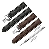 iStrap 20mm 2PCS Calf Leather Watch Band Replacement Watch Strap Contract Stitch Steel Butterfly Deployant Clasp Accessories for Men Women