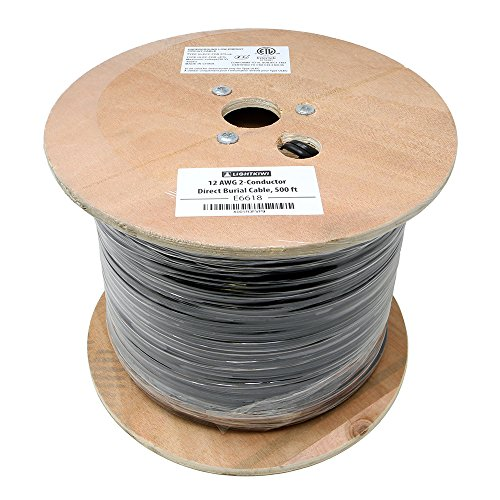 Lightkiwi E6618 12AWG 2-Conductor 12/2 Direct Burial Wire for Low Voltage Landscape Lighting, 500ft (Wire Low Voltage Landscape Lighting)