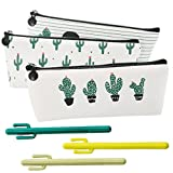 Set of 6, Students School Supply Stationery Organizer Canvas Cosmetic Bag Green Cactus Pencil Case(3 Case, 3 Gel pens)