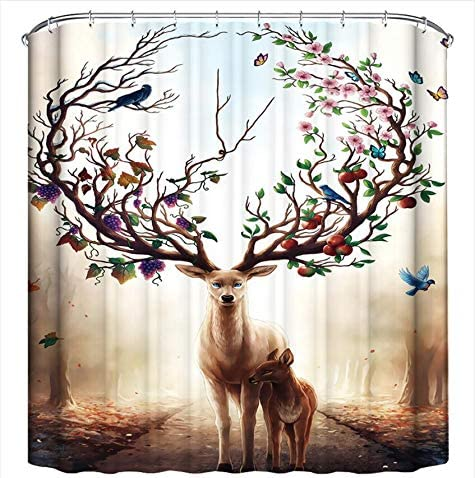 Youdepot Deer Shower Curtain Fantasy Forest Animal Floral Fruit Bird Bathroom Decor Background Waterproof Polyester Fabric Home Bath Accessories Hanging Curtains Sets Non Peva