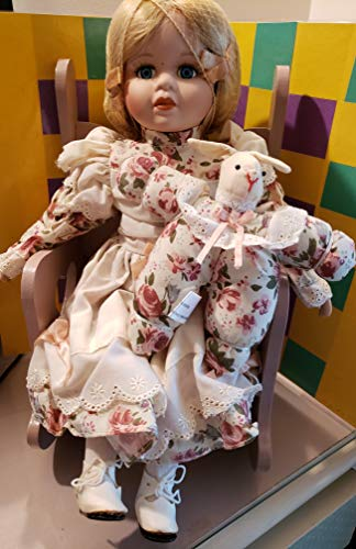 BABY DOLL ABC Distributing Inc (UNKNOWN DATE) 15 inch Porcelain Doll with Musical Rocker, Bunny (Porcelain Bunny Doll)