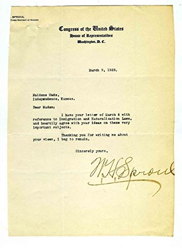 Congressman W H Sproul of Kansas Signed Letter on Immigration Laws 1928