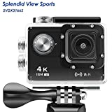 WIFI Action Camera, 4k Action Camera with Wifi 30M Waterproof Sports Camera and 2.4G Remote Contral / Rechargeable Batteries/ 170 Degree Wide Angle- Package including All Accessories Kits - Black