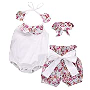 Baby Girls Lovely Bowknot Ruffle Romper Shorts Outfits with Headband