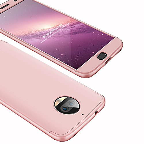 Moto G5S Plus Case, Ranyi [Full Body 3 in 1] [Slim & Thin Fit Tightly] [360 Degree Protection] Premium Hybrid Bumper 3 in 1 Electroplated Hard Case Cover for Motorola Moto G5S Plus (rose gold)
