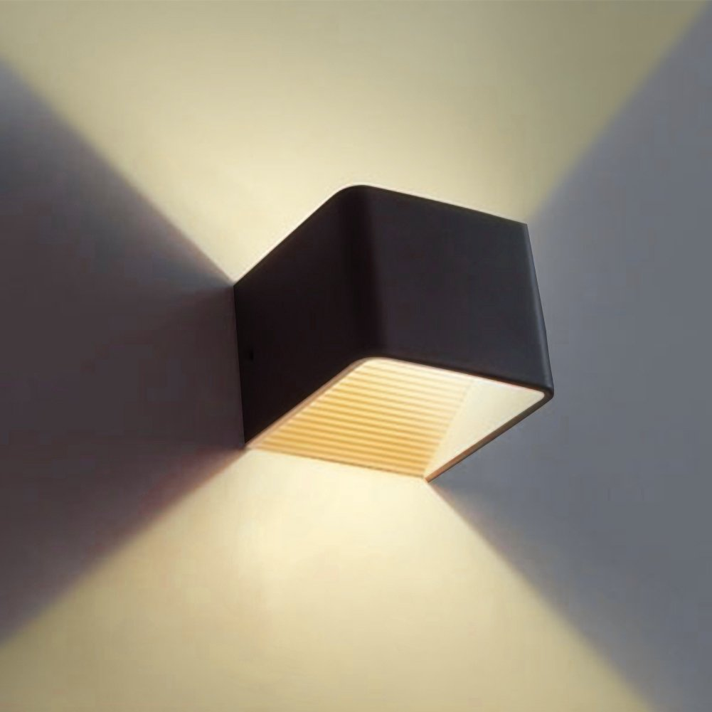 Awakingdemi Wall Sconces, Modern 5W LED Wall Mounted lamp, Warm Light Indoor Bedside Lamp Corridor Lights, LED Up Down Wall Light (Black)
