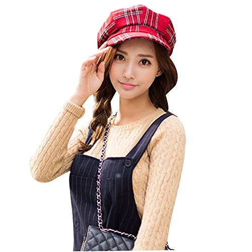 Tartan Plaid Print newsboy Cap Grid Octagonal Cap Check Painter Cap Hat Beret, Red -