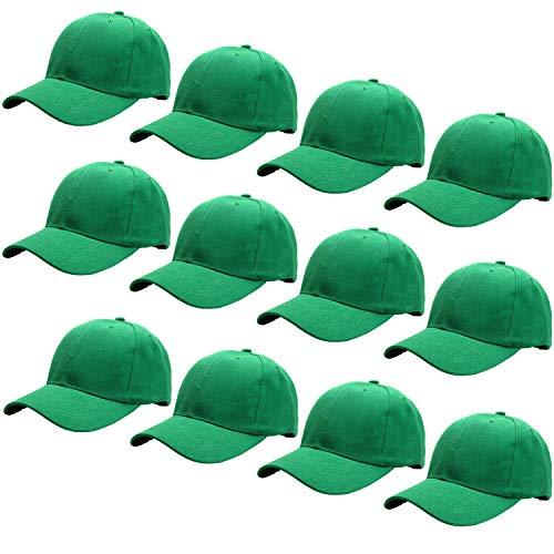 (12-Pack Bulk Sale Plain Baseball Cap Adjustable Size Solid Color G012-25-Kelly Green)