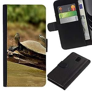 iKiki Tech / Cartera Funda Carcasa - Turtle Sunny Summer Nature Tropical - Samsung Galaxy Note 3 III N9000 N9002 N9005
