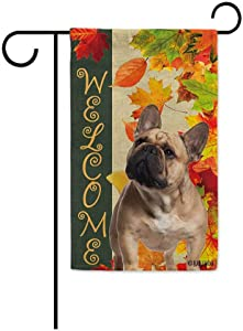 BAGEYOU Welcome Fall with My Favorite Dog French Bulldog Garden Flag Maple Leaf Harvest Season Rustic Decor Yard Banner for Outside 12.5X18 Inch Printed Double Sided