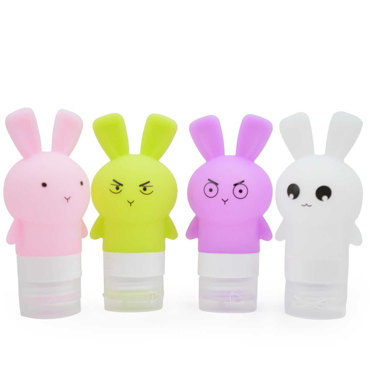 Portable Silicone Travel Bottle Set with Clear Bag, Soft Toiletry Bottles Refillable Squeezable Shampoo Lotion Liquid Container Kit, Cute Rabbit Beach Travel Accessories TSA Approved 2.5OZ-4Pack