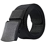 ALAIX Canvas Tactical Belt for Women Mesh Woven Belt with Double Plastic buckles, Black, One Size