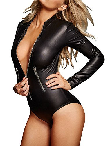 Shawhuwa Womens Sexy Leather Long Sleeve Zip Front Bodysuit Tops XL Black 10