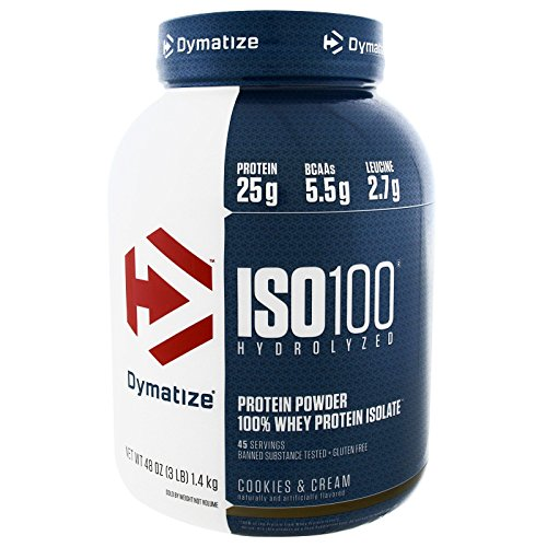 Dymatize Nutrition, ISO-100 Hydrolyzed 100% Whey Protein Isolate, Cookies & Cream, 3 lbs (1.36 kg) - 2pc (100 Cookies Iso Dymatize)