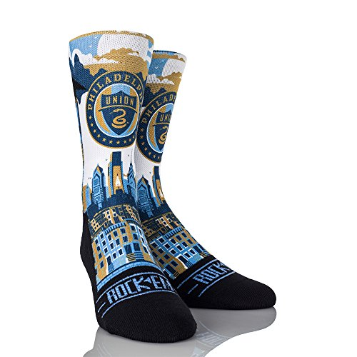 (Rock'em Apparel MLS Philadelphia Union City Skyline Custom Athletic Crew Socks, Small/Medium, Blue/Gold)