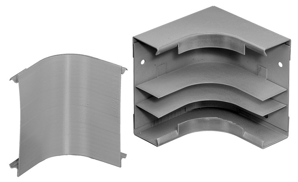 Hubbell Wiring Systems HBL4717DFOGY Steel Metal Raceway Divided Internal Elbow, 4-47/64'' Width x 4-3/4'' Height, Gray
