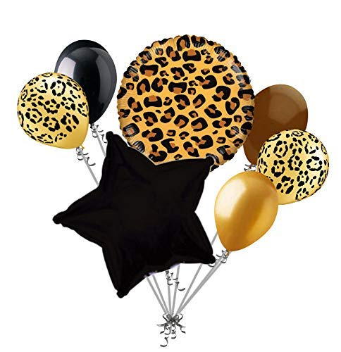 7 pc Tan Cheetah Print Balloon Bouquet Happy Birthday Baby Shower Animal