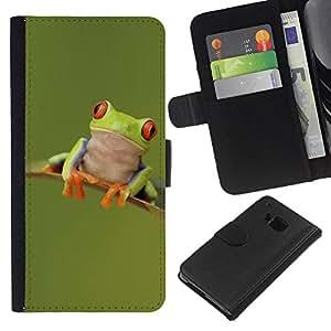 KLONGSHOP // Tirón de la caja Cartera de cuero con ranuras para tarjetas - Rana feliz Animal lindo verde - HTC One M9 //