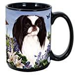 Garden Party [L-Z] Japanese Chin Black and White 15 oz Coffee Mug Bundle with Non-Negotiable K-Nine Kash by Imprints Plus (102)