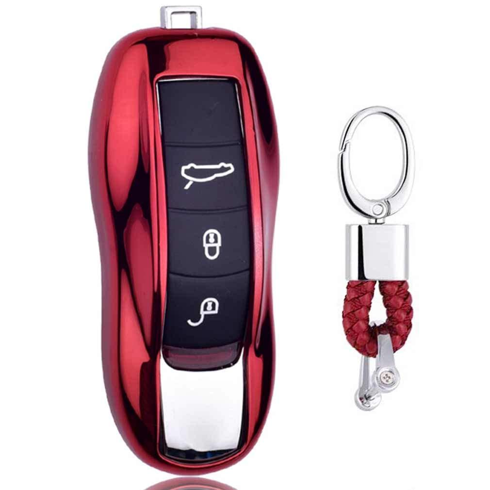 Rojo Funda de TPU Suave para Llave + Llavero para Coche Porsche Cayenne Macan Cayman Boxster 718 911