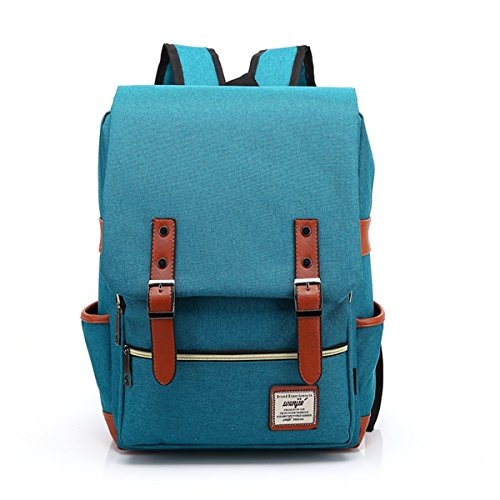 LimeiKK15 inches Retro backpack School bag Notebook Computer Neutral Canvas Backpack (Peacock (Basics Flap)