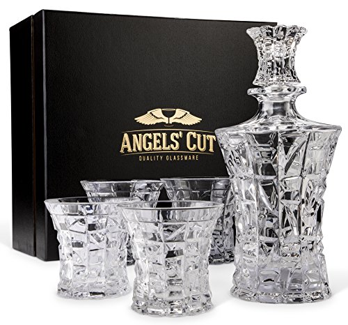 Regal Whiskey Decanter Set with 4 Scotch Glasses by Angels' Cut. Hand Crafted Whisky, Bourbon or Liquor Decanter for Bar with Rocks Glasses - 5 Piece Premium Set, Dishwasher Safe, Lead-Free, Gift Set