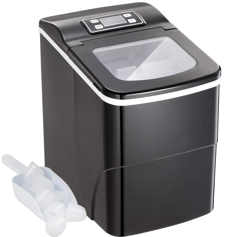 Portable Automatic Ice Maker Machine with Self-clean Function for Countertop, 9 Ice Cubes ready in 8 Minutes,Makes 26 lbs of Ice per 24 hours,with See-through Lid and LED lights (black)