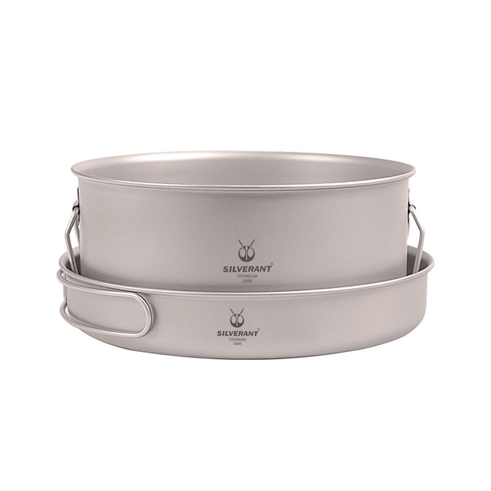 SilverAnt Titanium Frying Pan and Large Pot Combo Strong Lightweight Outdoor Camping Cookware Pot for Travel Hiking Camping in Cloth Case by SilverAnt