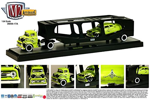 1956 FORD C-500 COE (Lime Green) & 1949 MERCURY CUSTOM * Auto-Haulers Release 17 * M2 Machines 2015 Castline Premium Edition 1:64 Scale Die-Cast Vehicle Truck & Set (15-14)