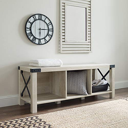 WE Furniture Entry Bench, White Oak (Bench Way White Entry)