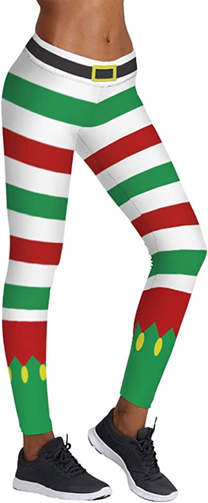 Jescakoo Vintange White Green Red Print Striped Pants Ankle Leggings for Christmas Party