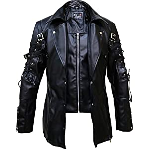 Punk Rave Poison Black & Maroon Jacket Mens Faux Leather Goth Steampunk Military Coat, XXS-3XL