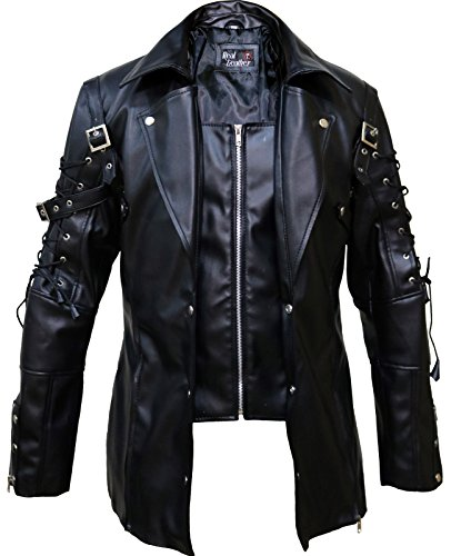 Punk Rave Poison Black Jacket Mens Real Sheep Leather Goth Steampunk Military Coatt,L.