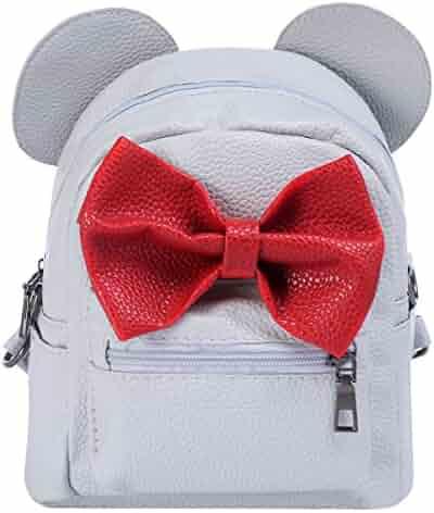 a9881782ca36 Women Kids Girls Leather Shoulder Backpack Cute Mini Cartoon Mouse Ear  Straps Bag Child Student School