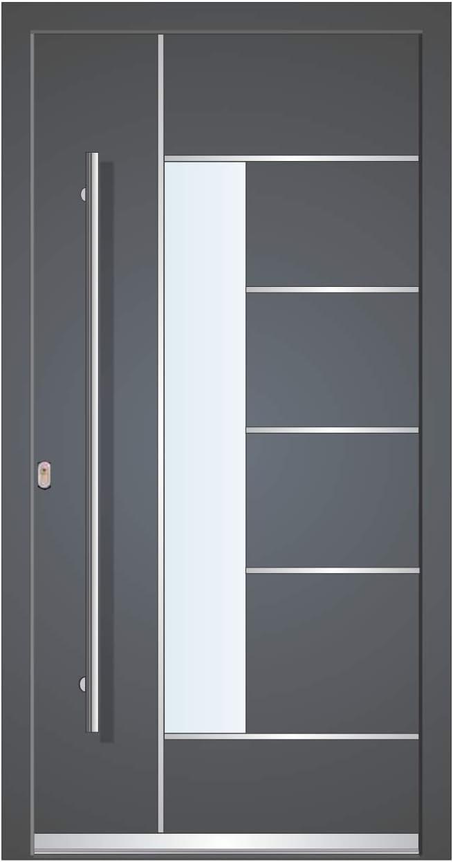 Puerta de casa Welthaus WH75 estándar de aluminio con plástico LA40 Dortmund puerta a medida, color exterior antracita 7016, interior blanco, tirador exterior BGR1400, cilindro M45, 5 llaves