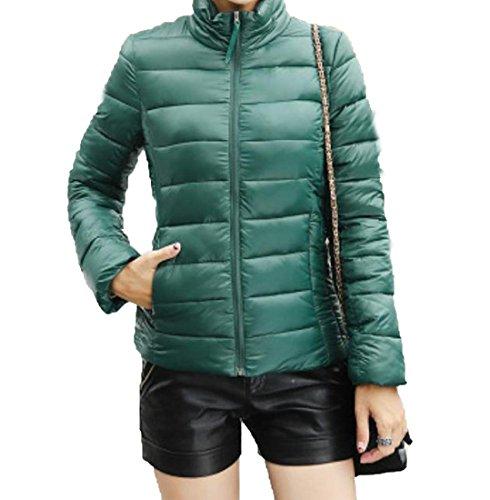 EKU Women's Solid Stand Collar Zipper Pocket Down Coats Jacket 3XL Green