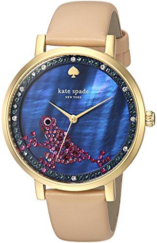 - kate spade new york Women's Monterey Stainless Steel Analog-Quartz Watch with Leather Calfskin Strap, Beige, 16 (Model: KSW1308)