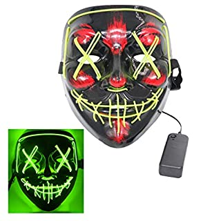 ThEast Halloween Face Mask LED Light Up Purge Mask for Festival Novelty and Creepy Cosplay Costume (Fluorescent Green)