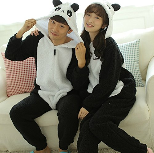 Japanese autumn and winter lambs wool long-sleeved pajamas couple home service men and women through wear cute panda paragraph l (Panda Wool)