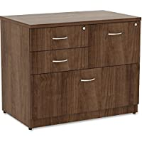 Lorell Essentials 4 Drawer Lateral File Cabinet in Walnut