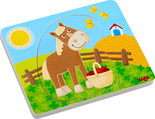 HABA Wooden Puzzle Fun on The Farm | Wooden Puzzles for 1 Year olds | - Peg Puzzle Puzzled